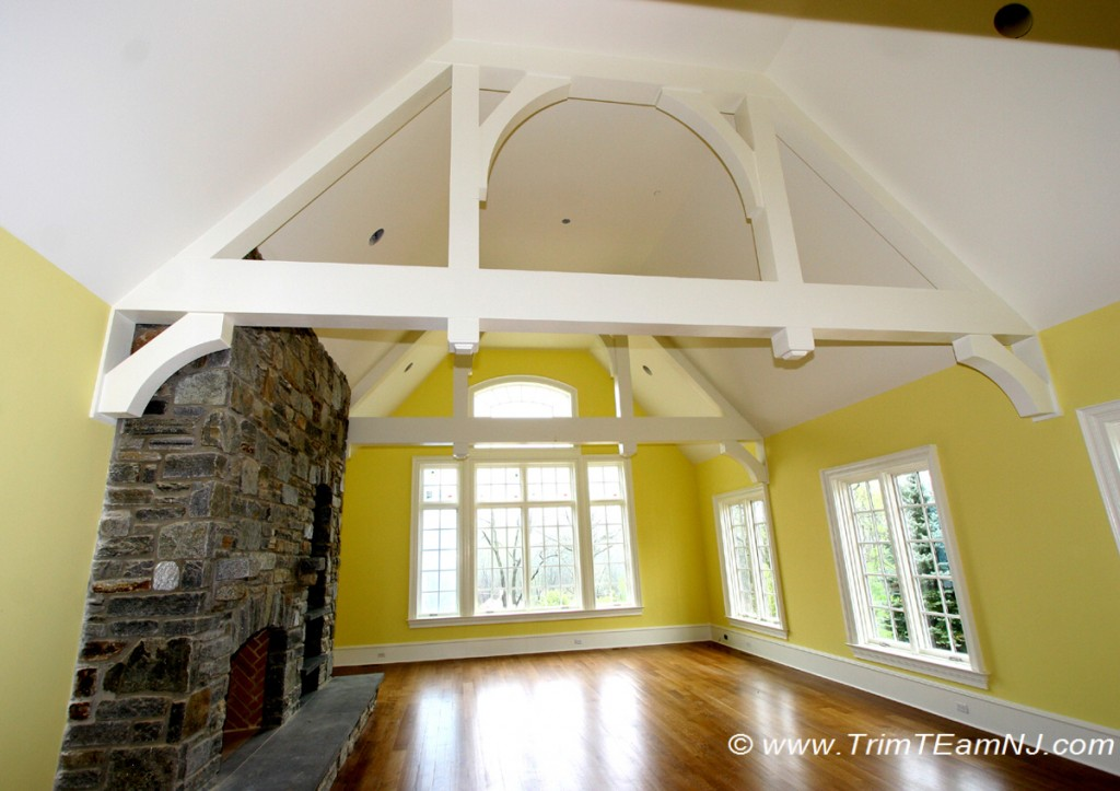 Coffered ceilings and beams trim team nj woodwork for Cathedral ceiling beams
