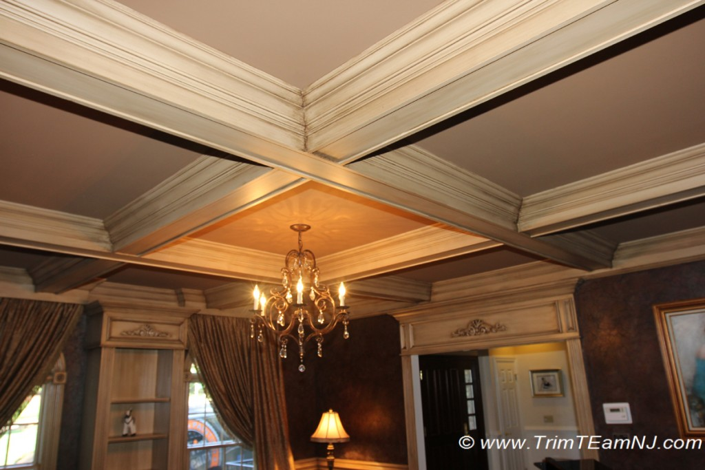 Coffered ceilings and beams trim team nj woodwork for Custom ceiling designs