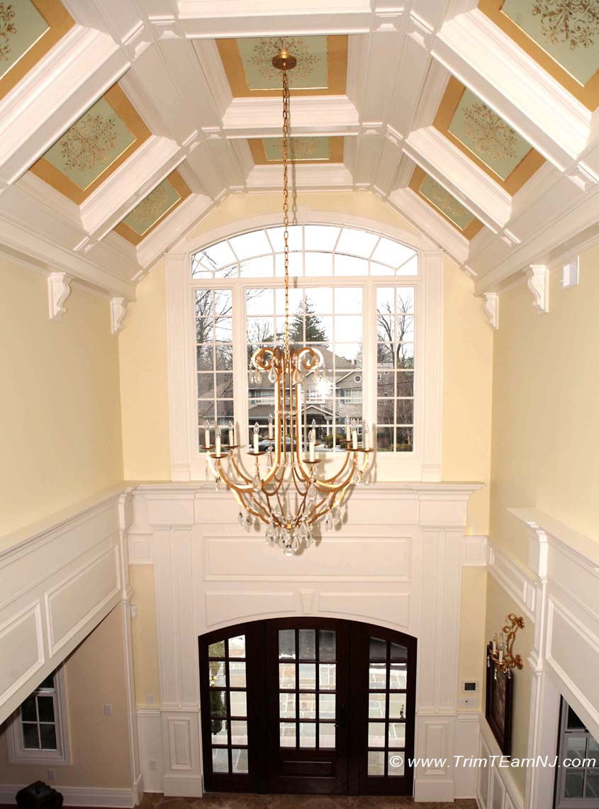 Coffered ceilings and beams trim team nj woodwork for Coffered cathedral ceiling